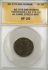 379-395 AD Roman Theodosius I Cyzicus Mint Bronze Ancient Coin AE ANACS VF 25