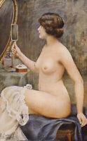 ARTIST SIGNED EDWARDIAN GLAMOUR - UNKNOWN ARTIST - BEAUTY LOOKING IN MIRROR