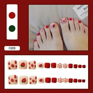 Strawberry Dot Fake Toe Nails Full Cover Removable Fake Press Charming Trendy Na
