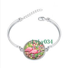 PINK FLAMINGOES glass cabochon Tibet silver bangle bracelets wholesale
