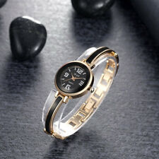 Gold Plated Case Black Dial With Black Metal Bangle Women's Watch