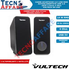Casse Acustiche Altoparlanti 14W RMS USB 2.0 Per PC Notebook Vultech SP-340