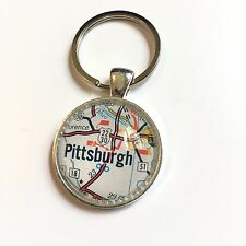 FLORENCE PITTSBURGH PENNSYLVANIA USA Map Key Ring Keychain Silver vntg ATLAS