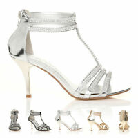 NEW WOMEN SILVER WEDDING PARTY DIAMANTE STRAPPY SANDALS LADIES SHOES SIZE 3-8