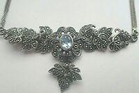 Prunkvolles Art Deco Silber 925 SterlingCollier mit Aquamarin und Markasiten