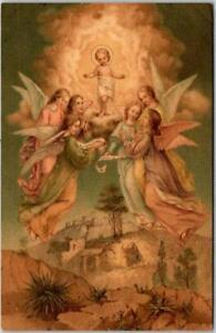 Vintage 1908 CHRISTMAS Greetings Postcard Baby Jesus / Flying Angels / Bethlehem