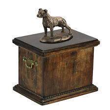 Wood Casket American Staffordshire Terrier Urn for Dog's ashes,with dog statue