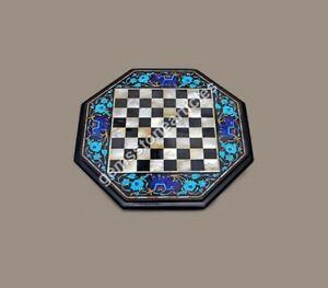 Black Chess Custom Table Top Mosaic Turquoise Inlay Stone Art Birthday Gift Her