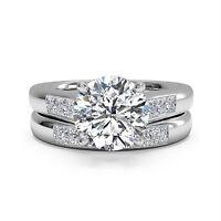 VVS1 1.30 Ct Diamond Wedding Band Ring 14K White Gold Wedding Band Set Size N M