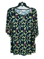 Charter Club Women's Green Plus Floral Print Butterfly Sleeves Blouse 2X NEW