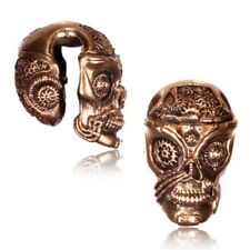 SKULL 1/2 INCH TRIBAL ROSE BRASS EAR WEIGHTS PLUGS TUNNELS STRETCH GAUGE PLUG