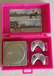 NEW PINK Barbie Playstation 1 System with case &  2 controllers Removable E31