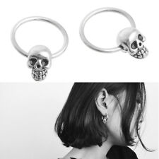 1 Pair Stainless Steel Skull Round Hoop Loop Earrings 0.39x0.28""
