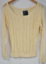 AMERICAN EAGLE Outfitters LOOSE Knit CREAM Sweater SEE Thru WOMEN'S Size XS