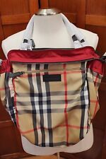 NEW Burberry Buckleigh Packable Nylon Tote Plaid Nova Check Red Shoulder Bag