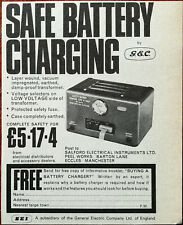 Salford Electrical Instruments Ltd. Safe Battery Charging by G. E. C. Ad 1967