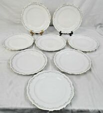 "BAVARIA CHINA, 10"" DINNER PLATES, LOT OF 8, WHITE WITH SCALLOPED EDGE, GOLD TRIM"