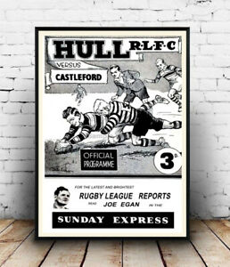 Hull R.L.F.C :  Vintage Rugby news advertising Reproduction poster, Wall art.