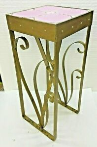"""Vintage Art Deco Table Hand Wrought Iron With Pink Lavender Tiles 21"""" x 9"""" x 9"""""""