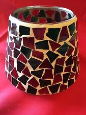 Candle Jar Shade Glass Mosaic Green Red  White  candel not included