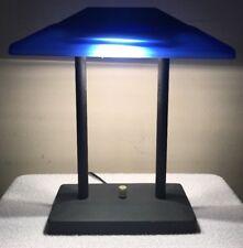 Vintage Blue Glass 80s Halogen Metal Table Lamp Vaporwave Memphis Style TESTED