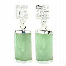 Natural Light Green Jade White Gold Plated Fortune Stud Dangle Earrings