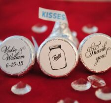 108 Mason Ball Jar, Thank You, Personalized Hershey Kiss Stickers Wedding Favor