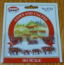 Model Power #5732 Animals pkg(6) -- Cows & Calves (brown)