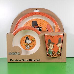 Bamboo Fibre Kids Set PEANUTS HALLOWEEN / THANKSGIVING   Plate-Bowl-Cup-Utensils