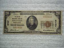 1929 $20 Scranton Pennsylvania Pa National Currency T1 # 8737 Union Natl Bank