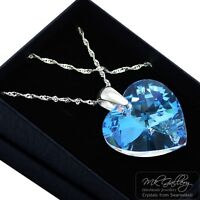 925 Silver Necklace *CRYSTAL BLUE AB* 10-28mm Heart Crystals from Swarovski®