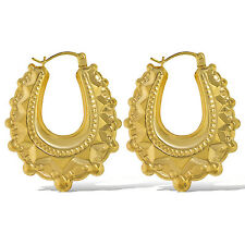 9CT YELLOW GOLD 29MM OVAL VICTORIAN SPIKE EARRINGS CREOLE TUBE GYPSY HOOP BOX