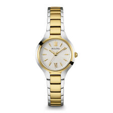 Bulova Womens Silver & Gold Finish Watch, Water Resistant to 100ft - 98L217
