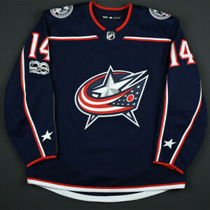 2017-18 Jordan Schroeder Columbus Blue Jackets Game Worn Hockey Jersey NHL