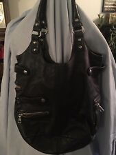 LIEBSKIND BLACK LEATHER LARGE PURSE SILVER HARDWARE POCKETS