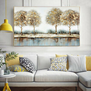 SS465 100% Hand-painted Landscape oil painting Unframed Poplar Grove Forest
