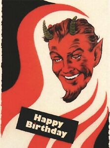 "Antique Postcard Copy 4x6 Halloween Demon Devil Beelzebub ""Happy Birthday Devil"""