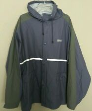 Coleman Rain Jacket Blue Reflective Waterproof Hooded Camping Men's Size XL/2XL