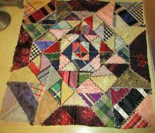 Antique/Vtg. Hand Pieced Satin Crazy Quilt Panel