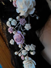 Hair Vine Tiara Rose Pearl dusky pink silver finish Bridal Accessory Wedding