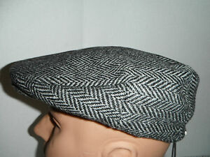 STETSON wool blend herringbone DRIVING Cap Hat large New