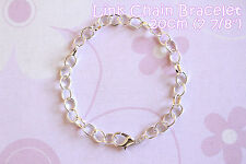 Silver Plated Lobster Clasp Link Chain Bracelets - 7 7/8 inches (20cm) - 3pcs