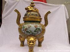 Royal 100% Bronze Cloisonne 24K Gold Elephant Dog Squirrel Dynasty  Censer