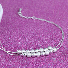 Women Lucky Silver Bead Chain Anklet Bracelet Barefoot Sandal Beach Foot Jewelry