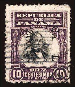 Canal Zone #26 10c 1906 Violet & Black Imprint Error Rare Used