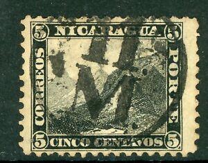 Nicaragua Matalgalpa Cancel on 5¢ Black First Issue L45 ⭐⭐⭐⭐⭐⭐