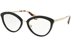 Authentic PRADA Rx PR 14UV-KUI1O1 Eyeglasses Black *NEW*  54 mm