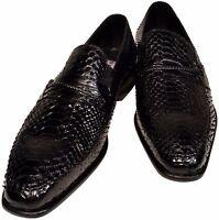 Python Snakeskin Men's Ronaldo Solid Black Italian Leather Loafer Dress Shoes