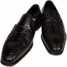 Python Snakeskin Men's Ronaldo Solid Black Italian Leather Loafer Dress Shoes