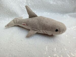 MAILEG shark rattle baby soft toy grey cotton RARE sea creature animal